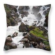 waterfalls in Pre Saint Didier Throw Pillow