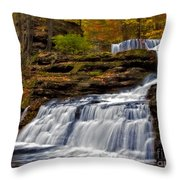 Waterfalls In The Fall Throw Pillow by Susan Candelario