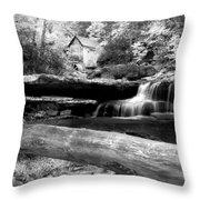 Waterfalls Mill Black N White Throw Pillow