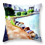 Waterfront In Dumbo Throw Pillow