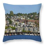Waterfront Living On Lake Union Throw Pillow
