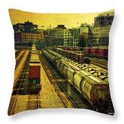 Waterfront Rail Yard Throw Pillow