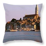 Waterfront, Rovinj, Croatia Throw Pillow