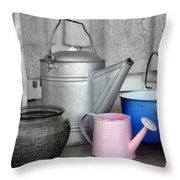 Watering Cans And Buckets Throw Pillow