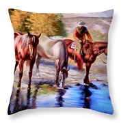 Watering The Horses Throw Pillow