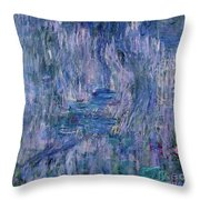 Waterlilies And Reflections Of A Willow Tree Throw Pillow