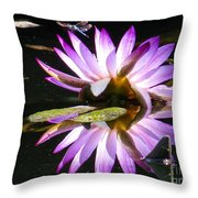 Waterlily And Dragonfly Throw Pillow