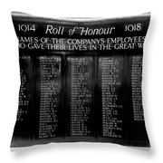 Waterloo Roll Of Honor 1914 1918 Throw Pillow