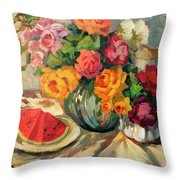 Watermelon And Roses Throw Pillow
