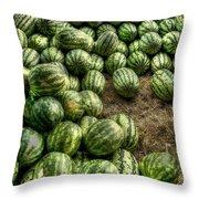 Watermelon Man Watermelon Stand Throw Pillow by William Fields