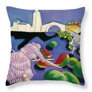 Watermelon Woman Throw Pillow
