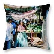 Watermelons At The Market Throw Pillow