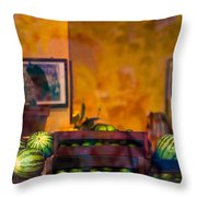 Watermelons On The Window Sill Throw Pillow