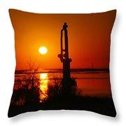 Waterpump In The Sunrise Throw Pillow by Jeff Swan