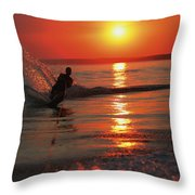 Waterskiing At Sunset Throw Pillow