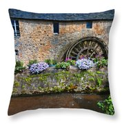 Waterwheel In Brittany Throw Pillow