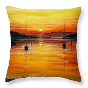 Watery Sunset At Bala Lake Throw Pillow