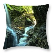 Watkins Glen Waterfalls Throw Pillow