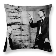 Watson And Crick With Dna Model Throw Pillow