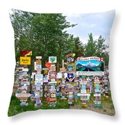 Watson Lake Sign Forest Along Alaska Highway In  Yukon-canada Throw Pillow