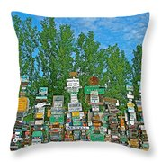 Watson Lake Sign Forest-yt Throw Pillow by Ruth Hager