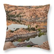 Watson Lake Sunset Throw Pillow by Angie Schutt