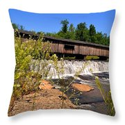 Watson Mill Covered Bridge From The Jetty Throw Pillow