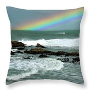 Wave And A Rainbow Throw Pillow
