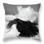 Wave At Shore Acres Bw Throw Pillow