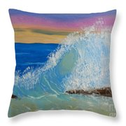 Wave At Sunrise Throw Pillow