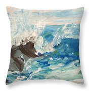 Wave At Sunset Beach Throw Pillow