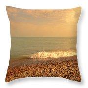 Wave On Rocky Beach Throw Pillow