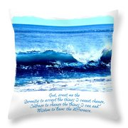 Wave Serenity Prayer Throw Pillow