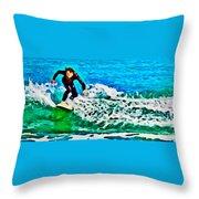 Wave Surfer Throw Pillow