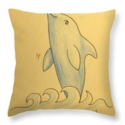 Wave The Suzuki Dolphin Throw Pillow by Sheri Lauren Schmidt