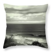 Wave Watching In Black And White - Kauai - Hawaii Throw Pillow