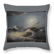 Waves And  Moonlight Throw Pillow