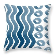 Waves And Pebbles- Abstract Watercolor In Indigo And White Throw Pillow by Linda Woods
