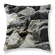 Waves And Rocks 4 Throw Pillow