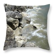 Waves And Rocks 6 Throw Pillow