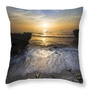 Waves At Sunrise Throw Pillow by Debra and Dave Vanderlaan