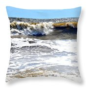 Waves At Tybee Throw Pillow