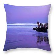 Waves Break On The Beach At Dawn Throw Pillow