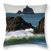Waves Breaking At Ecola State Park Throw Pillow