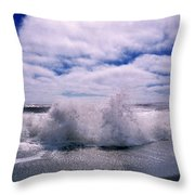 Waves Breaking At The Coast, Iceland Throw Pillow