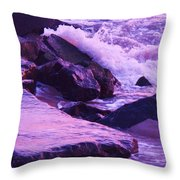 Waves  Breaking  On Jetties  Throw Pillow