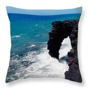 Waves Breaking On Rocks, Hawaii Throw Pillow