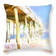 Waves By The Pier Throw Pillow