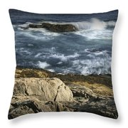 Waves Crashing Against The Shore In Acadia National Park Throw Pillow