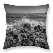 Waves Crashing Bw Throw Pillow